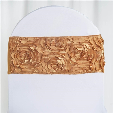 "6""x12"" Gold Satin Rosette Spandex Stretch Chair Sash - 5 PCS"