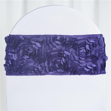 "6""x12"" Purple Satin Rosette Spandex Stretch Chair Sash - 5 PCS"