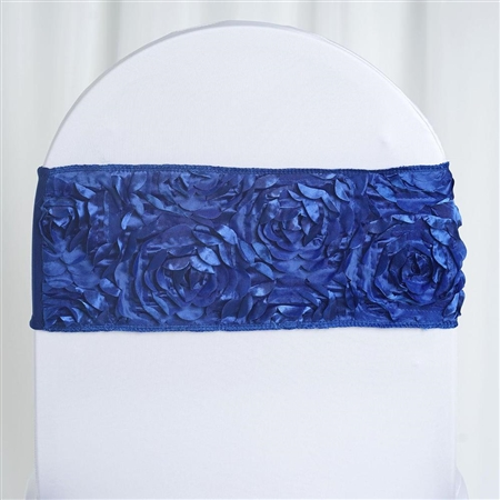 "6""x12"" Royal Blue Satin Rosette Spandex Stretch Chair Sash - 5 PCS"
