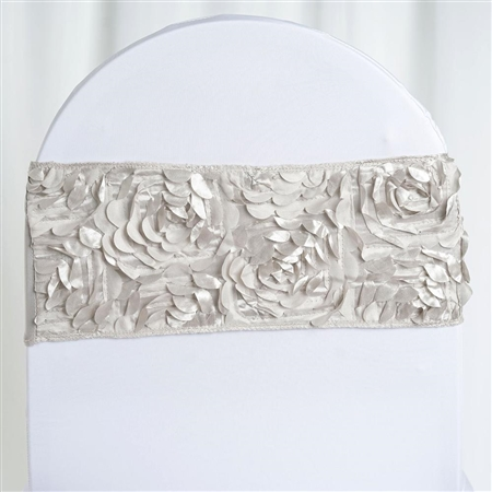 "6""x12"" Silver Satin Rosette Spandex Stretch Chair Sash - 5 PCS"