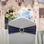 "5""x14"" Navy Blue Spandex Stretch Chair Sash with Silver Diamond Ring Slide Buckle - 5-Pack"
