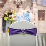 "5""x14"" Purple Spandex Stretch Chair Sash with Silver Diamond Ring Slide Buckle - 5-Pack"