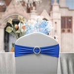 "5""x14"" Royal Blue Spandex Stretch Chair Sash with Silver Diamond Ring Slide Buckle - 5-Pack"