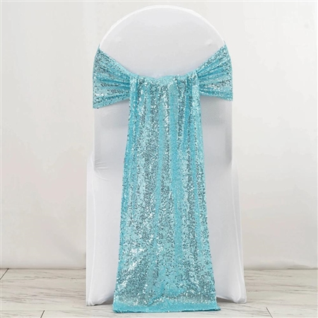 "12""x108"" Premium Sequin Chair Sashes - 5 Pack - Serenity Blue"