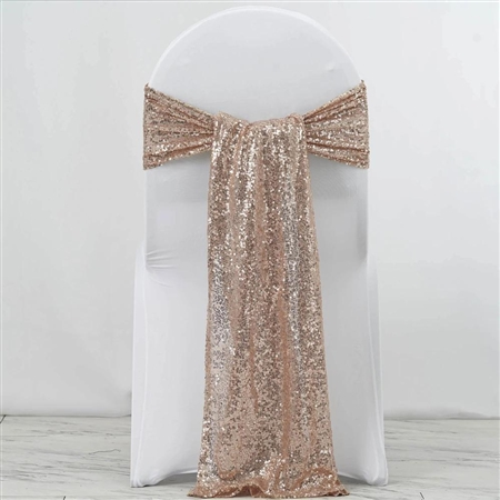 "12""x108"" Premium Sequin Chair Sashes - 5 Pack - Blush/Rose Gold"