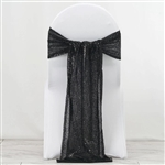 "12""x108"" Premium Sequin Chair Sashes - 5 Pack - Black"