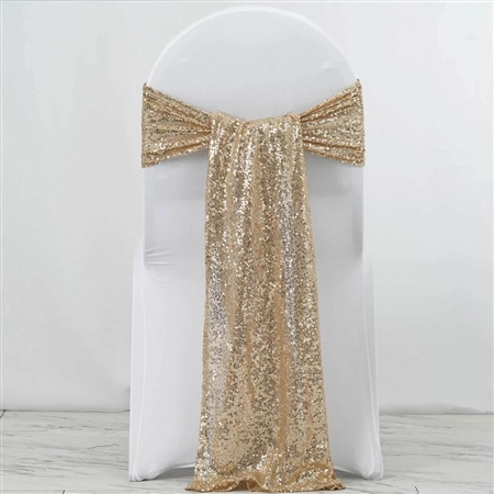 "12""x108"" Premium Sequin Chair Sashes - 5 Pack - Champagne"