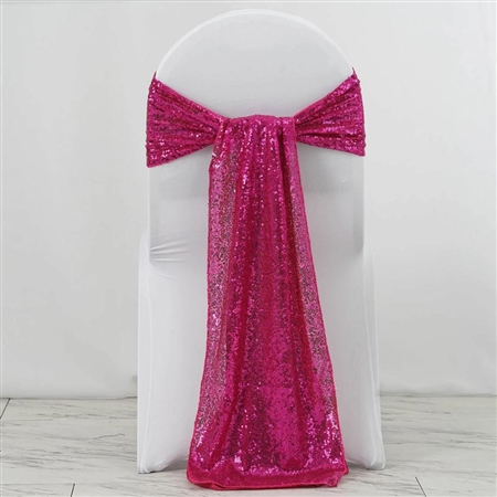 "12""x108"" Premium Sequin Chair Sashes - 5 Pack - Fushia"