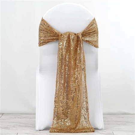 "12""x108"" Premium Sequin Chair Sashes - 5 Pack - Gold"