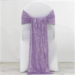"12""x108"" Premium Sequin Chair Sashes - 5 Pack - Lavender"