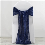 "12""x108"" Premium Sequin Chair Sashes - 5 Pack - Navy Blue"