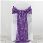"12""x108"" Premium Sequin Chair Sashes - 5 Pack - Purple"