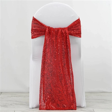 "12""x108"" Premium Sequin Chair Sashes - 5 Pack - Red"