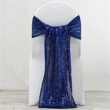"12""x108"" Premium Sequin Chair Sashes - 5 Pack - Royal Blue"