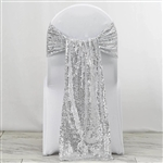 "12""x108"" Premium Sequin Chair Sashes - 5 Pack - Silver"