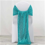 "12""x108"" Premium Sequin Chair Sashes - 5 Pack - Turquoise"