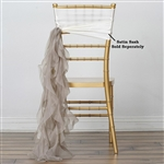 Chiffon Curly Chair Sashes - Natural