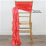 Chiffon Curly Chair Sashes - Coral