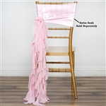 Chiffon Curly Chair Sashes - Rose Gold/Blush