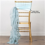 Chiffon Curly Chair Sashes - Ice Blue
