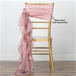 Chiffon Curly Chair Sashes - Dusty Rose