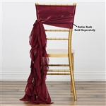 Chiffon Curly Chair Sashes - Burgundy