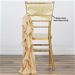 Chiffon Curly Chair Sashes - Champagne
