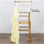 Chiffon Curly Chair Sashes - Ivory