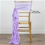 Chiffon Curly Chair Sashes - Lavender