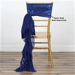 Chiffon Curly Chair Sashes - Navy Blue