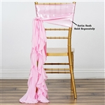 Chiffon Curly Chair Sashes - Pink