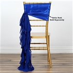 Chiffon Curly Chair Sashes - Royal Blue