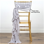Chiffon Curly Chair Sashes - Silver