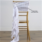 Chiffon Curly Chair Sashes - White