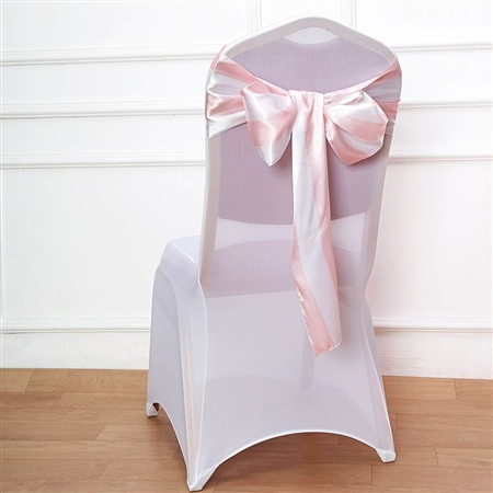 "6""x108 "" Stripe Satin Chair Sashes - 5 Pack - Blush/Rose Gold & White"