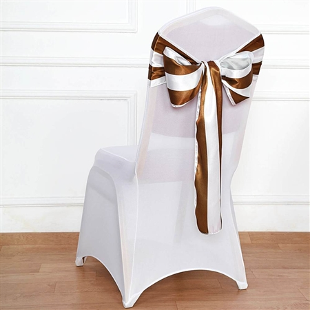 "6""x108 "" Stripe Satin Chair Sashes - 5 Pack - Gold & White"