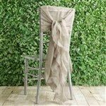 Natural Chiffon Hoods With Curly Willow Chiffon Chair Sashes