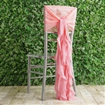 Rose Quartz Chiffon Hoods With Curly Willow Chiffon Chair Sashes