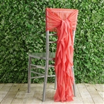 Coral Chiffon Hoods With Curly Willow Chiffon Chair Sashes