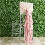 Blush Chiffon Hoods With Curly Willow Chiffon Chair Sashes