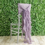 Amethyst Violet Chiffon Hoods With Curly Willow Chiffon Chair Sashes