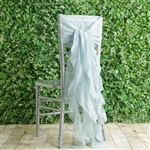 Ice Blue Chiffon Hoods With Curly Willow Chiffon Chair Sashes