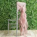 Dusty Rose Chiffon Hoods With Curly Willow Chiffon Chair Sashes