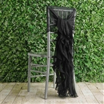 Black Chiffon Hoods With Curly Willow Chiffon Chair Sashes