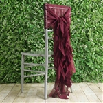 Burgundy Chiffon Hoods With Curly Willow Chiffon Chair Sashes