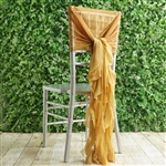 Gold Chiffon Hoods With Curly Willow Chiffon Chair Sashes