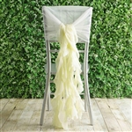 Ivory Chiffon Hoods With Curly Willow Chiffon Chair Sashes