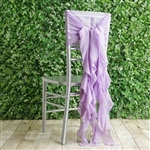 Lavender Chiffon Hoods With Curly Willow Chiffon Chair Sashes