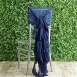 Navy Blue Chiffon Hoods With Curly Willow Chiffon Chair Sashes