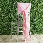 Pink Chiffon Hoods With Curly Willow Chiffon Chair Sashes
